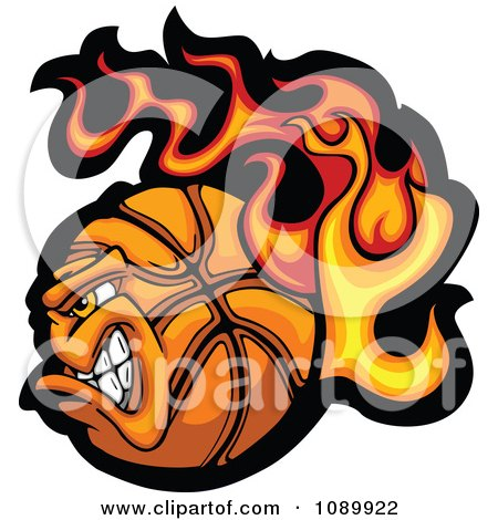 Clipart Tough Flaming Basketball Character - Royalty Free Vector Illustration by Chromaco