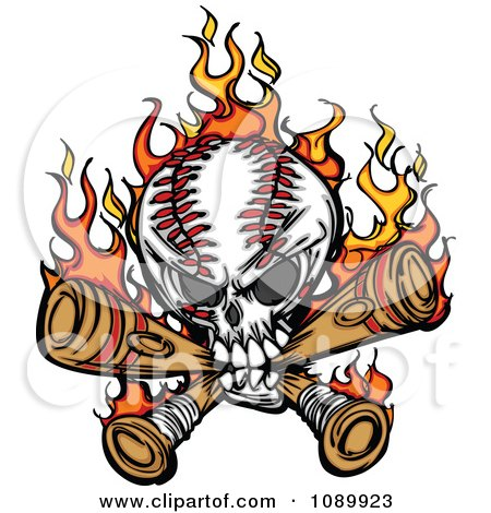 Clipart Flaming Baseball Skull Biting Bats - Royalty Free Vector Illustration by Chromaco