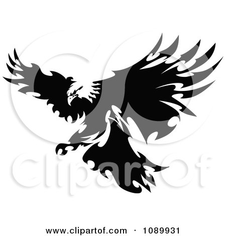 Clipart Black And White Fierce Eagle With Razor Feathers - Royalty Free Vector Illustration by Chromaco