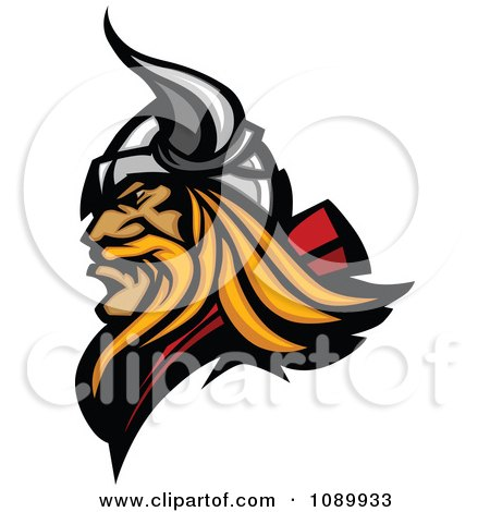 Clipart Profiled Blond Viking Mascot - Royalty Free Vector Illustration by Chromaco