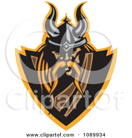 Clipart Blond Viking Warrior Shield - Royalty Free Vector Illustration by Chromaco