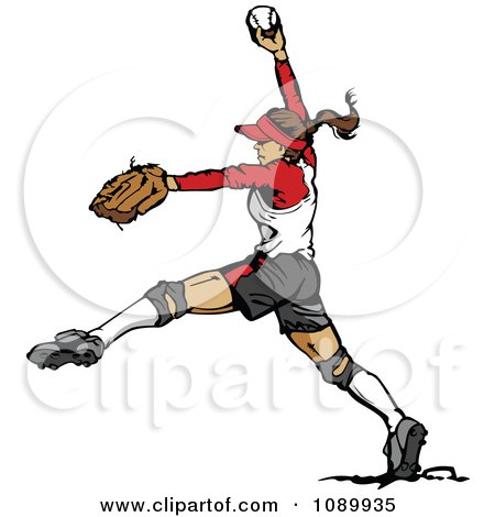 Clipart Female Softball Baseball Pitcher - Royalty Free Vector Illustration by Chromaco