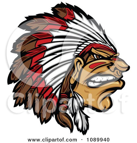 Clipart Tough Native American Chief And Feathered Headdress - Royalty Free Vector Illustration by Chromaco