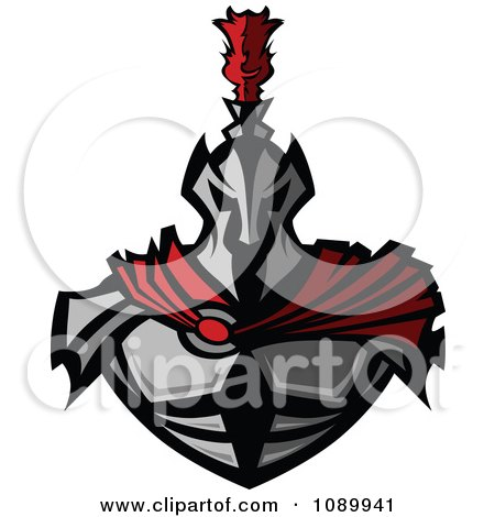 Clipart Warrior In Metal Armor And A Red Cape - Royalty Free Vector Illustration by Chromaco