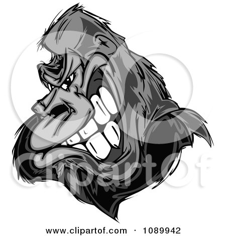 Clipart Tough Grayscale Gorilla Face - Royalty Free Vector Illustration by Chromaco