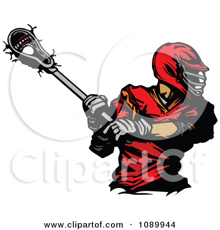 Clipart Lacrosse Player Swinging A Stick - Royalty Free Vector Illustration by Chromaco