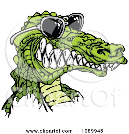 Clipart Grinning Alligator Wearing Sunglasses - Royalty Free Vector Illustration by Chromaco
