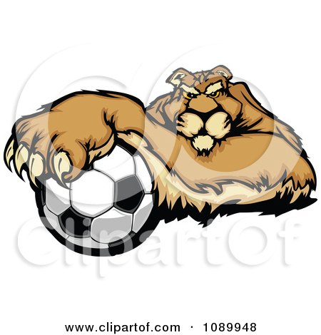 Puma Mascot Resting With One Paw On A Soccer Ball Posters, Art Prints
