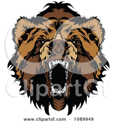 Clipart Snarling Bear Face - Royalty Free Vector Illustration by Chromaco