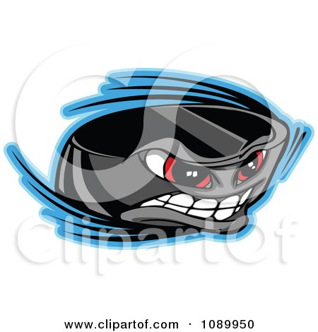Clipart Flying Hockey Puck Character - Royalty Free Vector Illustration by Chromaco