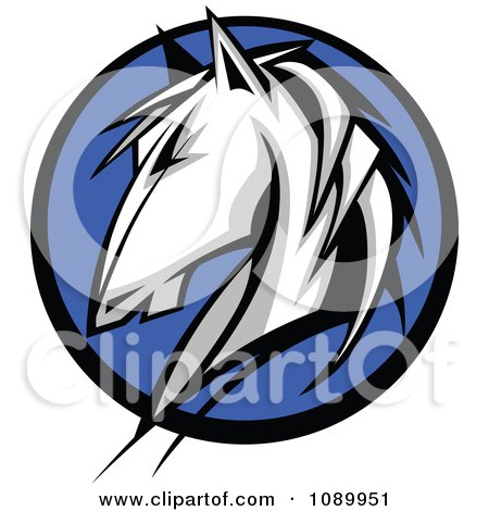 Clipart White Horse Profile Over A Blue Circle - Royalty Free Vector Illustration by Chromaco