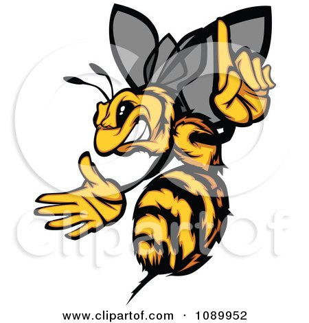 Clipart Stinging Bee Holding A Finger Up - Royalty Free Vector Illustration by Chromaco