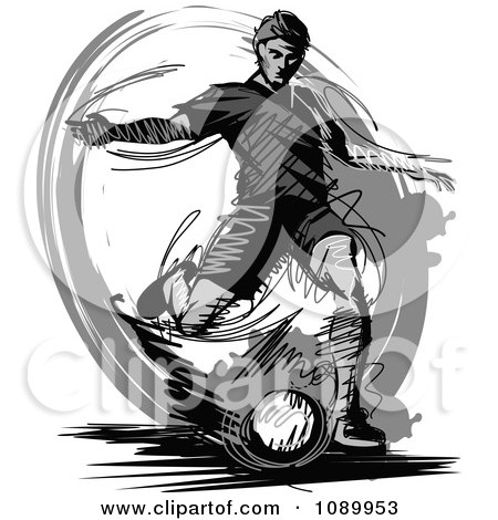 Clipart Grayscale Sketched Soccer Player - Royalty Free Vector Illustration by Chromaco