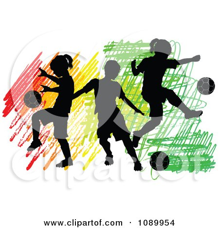 Clipart Three Silhouetted Children Playing Soccer Over Colorful Scribbles - Royalty Free Vector Illustration by Chromaco