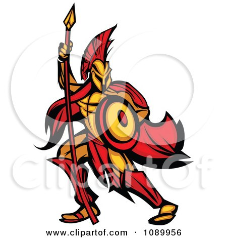 Clipart Spartan Warrior Armed With A Spear And Shield - Royalty Free Vector Illustration by Chromaco