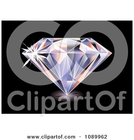 Clipart 3d Brilliant Diamond On Black - Royalty Free Vector Illustration by michaeltravers