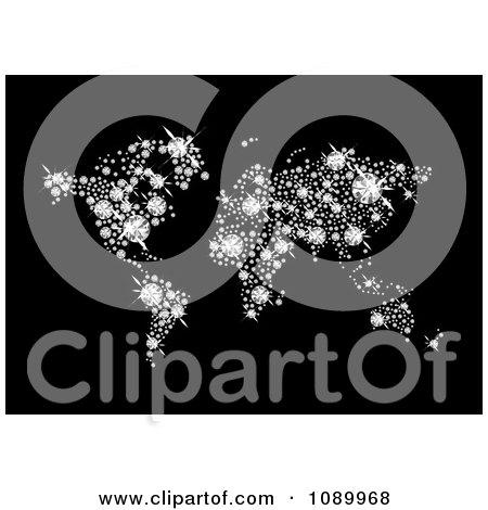 Clipart Sparkly Diamond World Atlas On Black - Royalty Free Vector Illustration by michaeltravers