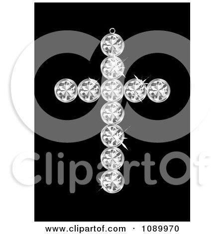 Clipart 3d Diamond Cross Pendant - Royalty Free Vector Illustration by michaeltravers