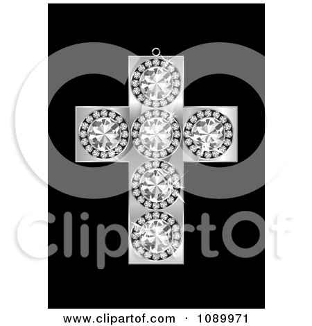 Clipart 3d Diamond And Silver Cross Pendant - Royalty Free Vector Illustration by michaeltravers
