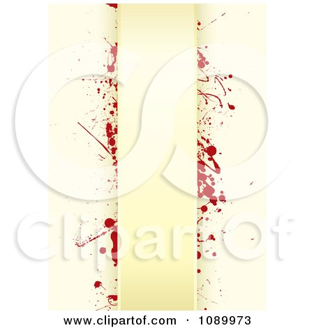 Clipart Grungy Tan Paper Background With Red Splatters And Vertical Copyspace - Royalty Free Vector Illustration by michaeltravers
