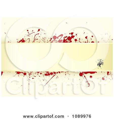 Clipart Grungy Tan Paper Background With Red Splatters And Horizontal Copyspace - Royalty Free Vector Illustration by michaeltravers
