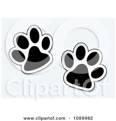 Clipart Black And White Pet Paw Prints - Royalty Free Vector Illustration by michaeltravers