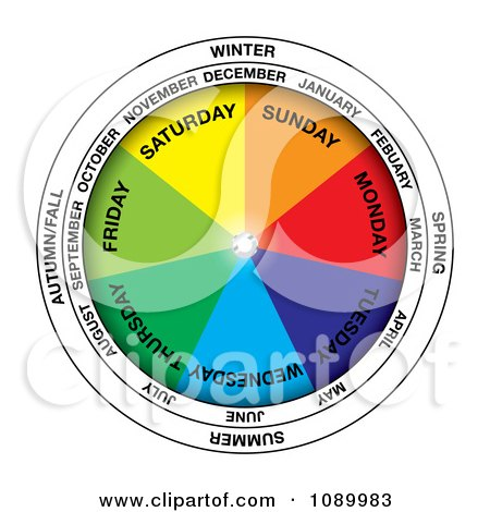 Clipart Colorful Calendar Wheel - Royalty Free Vector Illustration by michaeltravers