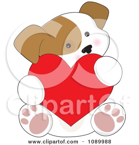 Clipart Cute Puppy Holding A Red Valentine Heart - Royalty Free Vector Illustration by Maria Bell