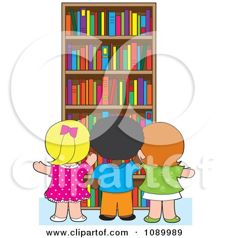 Clipart School Children Selecting Library Books From A Shelf - Royalty Free Vector Illustration by Maria Bell