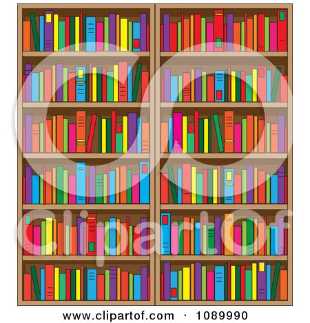 Clipart Library Book Shelves Filled With Books - Royalty Free Vector Illustration by Maria Bell