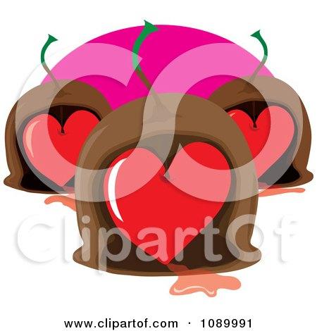 Clipart Maraschino Cherry Heart Valentine Chocolates Royalty Free Vector Illustration