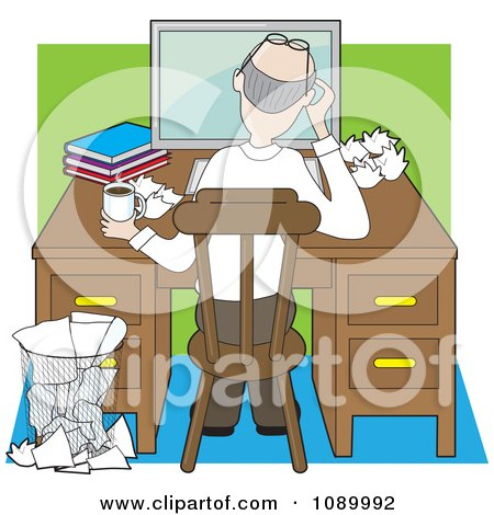 Clipart Rear View Of An Author Working At A Desk With Crumpled Pages - Royalty Free Vector Illustration by Maria Bell