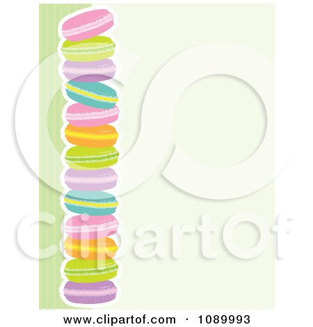 Clipart Border Of Colorful Macaroon Cookies And Green Stripes With Beige Copyspace - Royalty Free Vector Illustration by Maria Bell