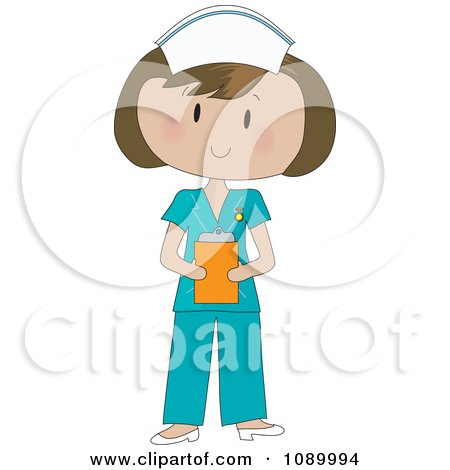 Clipart Healthcare Nurse In Blue Scrubs - Royalty Free Vector Illustration by Maria Bell