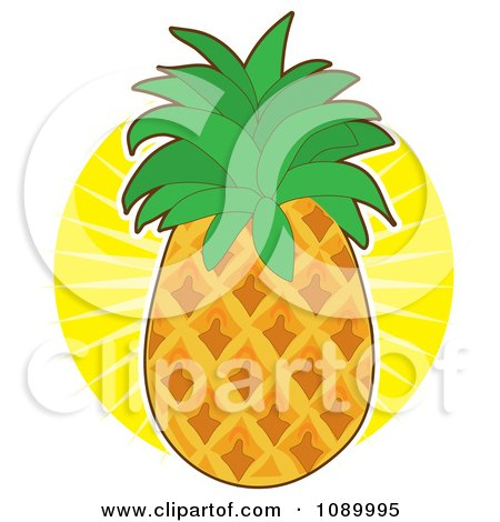 Clipart Fresh Whole Pineapple Against A Sun Burst - Royalty Free Vector Illustration by Maria Bell