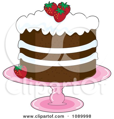 Clipart Strawberry Shortcake With Whipped Cream Icing And Garnished With Fresh Strawberries - Royalty Free Vector Illustration by Maria Bell
