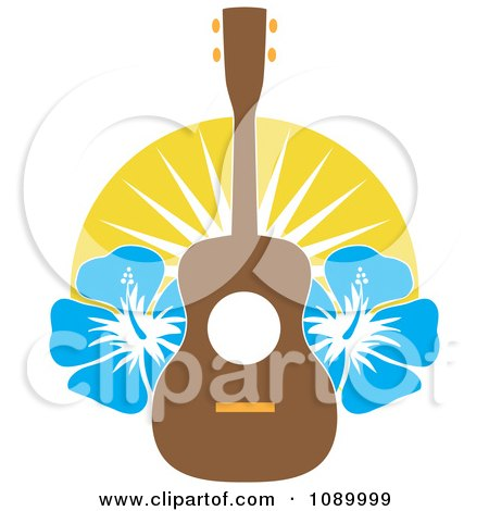 Clipart Hawaiian Ukulele With Blue Hibiscus Flowers And Sunshine - Royalty Free Vector Illustration by Maria Bell