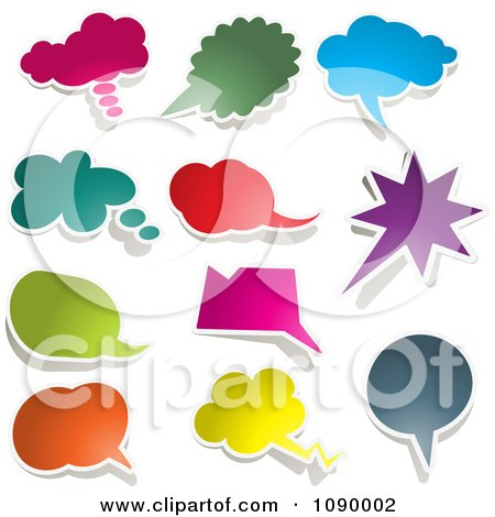 Clipart Solid Colored Chat Balloon Bubbles With Shadows - Royalty Free Vector Illustration by KJ Pargeter