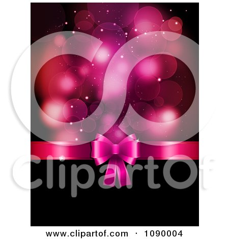 Clipart 3d Pink Valentines Day Gift Bow Dividing Flares And Black Copyspace - Royalty Free Vector Illustration by KJ Pargeter