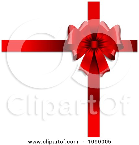 Clipart 3d Red Valentines Day Gift Bow And Ribbons On White - Royalty Free Vector Illustration by KJ Pargeter
