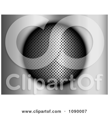 Clipart 3d Perforated Circle On Brushed Metal - Royalty Free Vector Illustration by KJ Pargeter