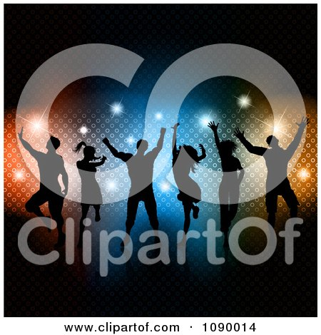 Clipart Silhouetted Dance Team Over Colorful Lights And Sparkles Royalty Free Vector Illustration