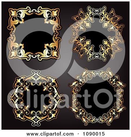 Clipart 3d Ornate Gold And Black Vintage Frames - Royalty Free Vector Illustration by KJ Pargeter