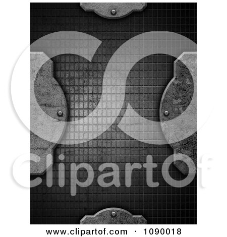 Clipart 3d Concrete Designs And Rivets Over Wire Mesh - Royalty Free Illustration by KJ Pargeter