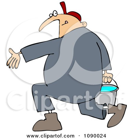 Clipart Plumber Carrying A Full Bucket Of Water - Royalty Free Vector Illustration by djart
