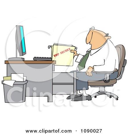 Clipart Businessman Pulling A Top Secret Folder From A Desk Cabinet - Royalty Free Vector Illustration by djart