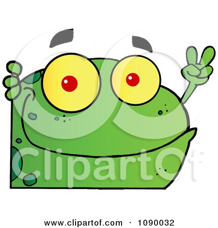 Clipart Green Peace Frog Looking Around A Corner - Royalty Free Vector Illustration by Hit Toon