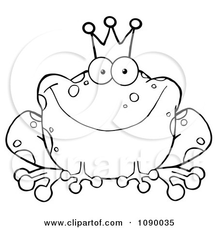 Clipart Outlined Fairy Tale Frog Prince Wearing A Crown - Royalty Free Vector Illustration by Hit Toon