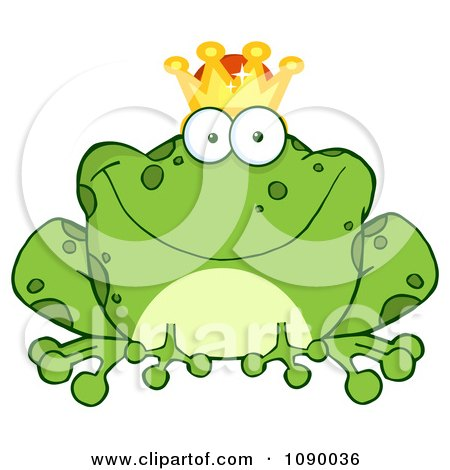 Clipart Fairy Tale Frog Prince Wearing A Crown - Royalty Free Vector Illustration by Hit Toon