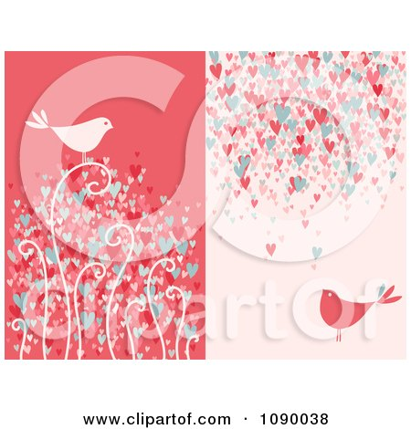 Red And Pink Bird And Heart Backgrounds Posters, Art Prints